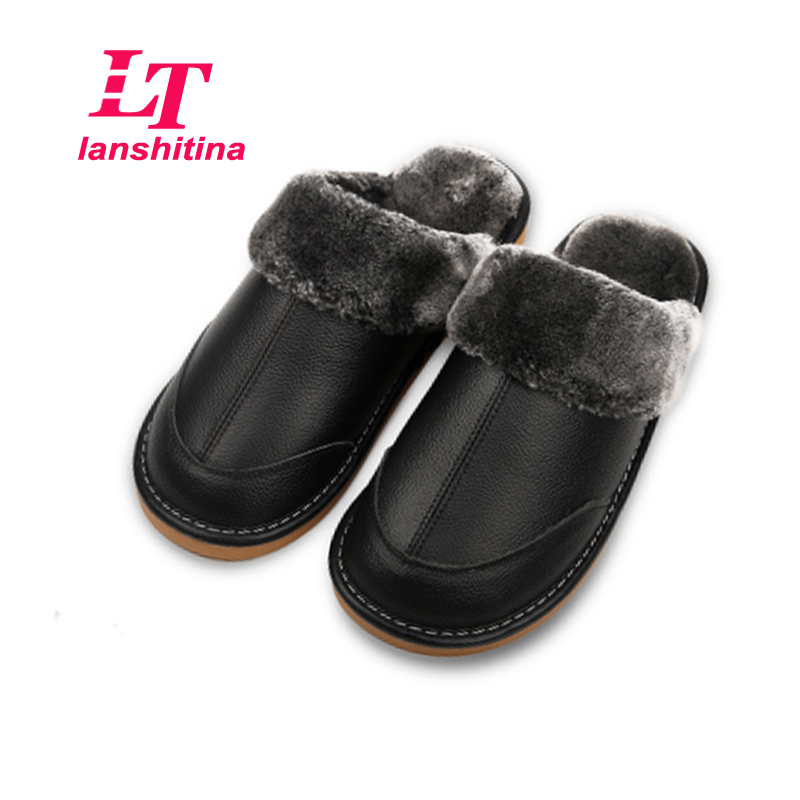 Real Genuine Leather Men Home Slippers Warm Winter Indoor
