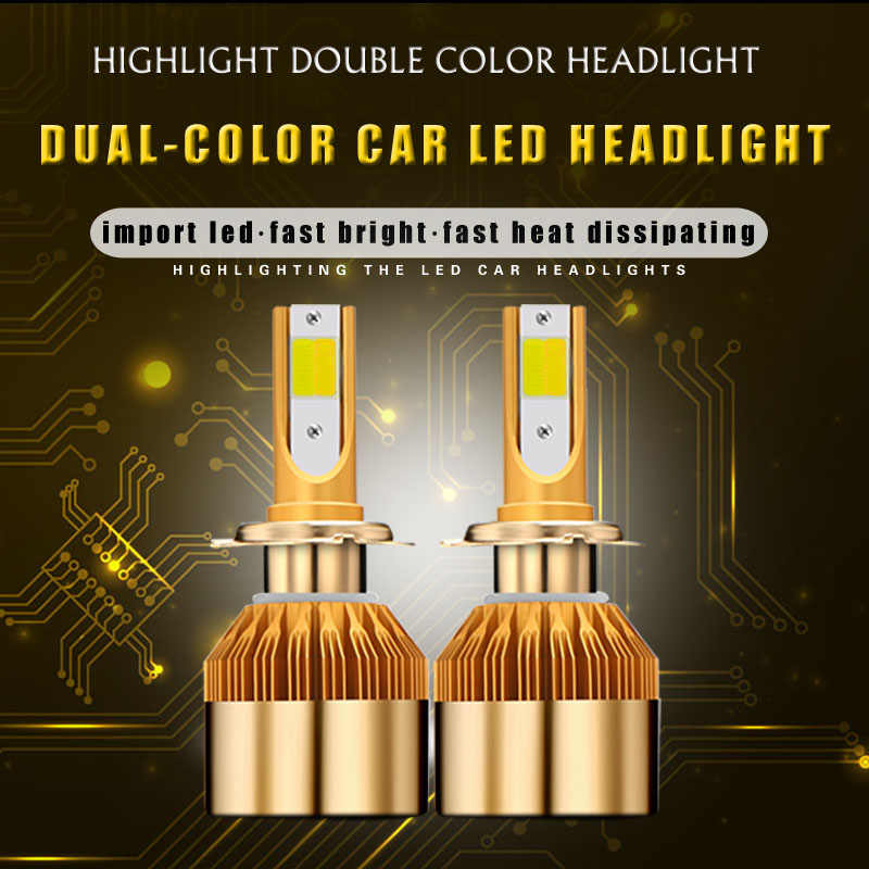 2019 New 2PC Tri Color car headlight h7 led H4 bulb h1 h11 h8 h9 hb3 hb4 9005 9006 880 881 12V 24V 48w 4800LM auto fog light