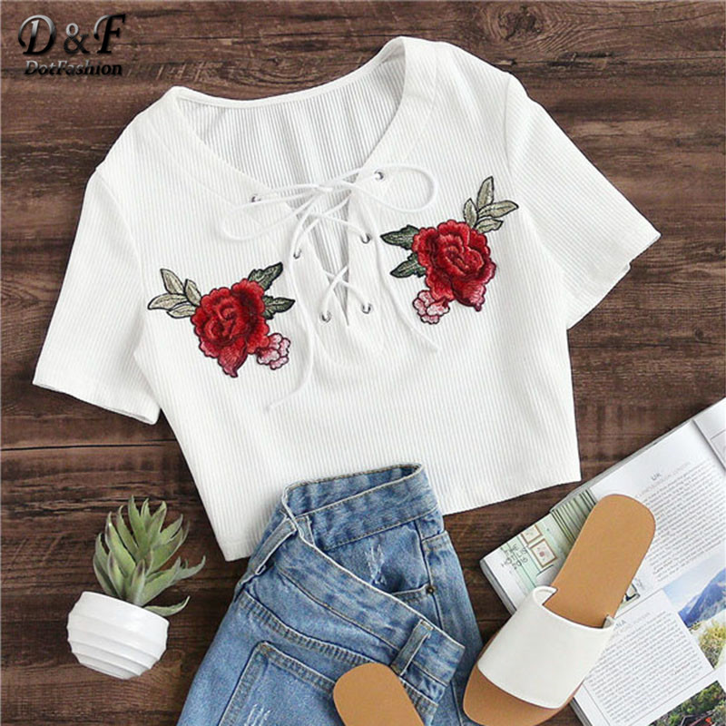 Dotfashion Eyelet Lace Up Patch Detail <font><b>Rib</b></font> <font><b>Knit</b></font> Crop Tee Rose Embroidery V Neck <font><b>Top</b></font> 2017 Summer Sexy Appliques T-shirt