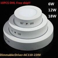 10 ADET DHL Ücretsiz Yüzey LED Monte Paneli Işık Yuvarlak LED Downlight Tavan Lambası SMD2835 6 W 12 W 18 W Kısılabilir Mutfak Ligting lamba