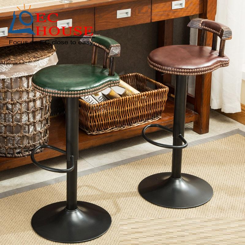 Wood lift bar stool simple american leisure chair free - Barras de madera para cocina ...