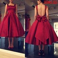 Nueva Borgoña Scoop Cuello Corto Vestidos de Fiesta 2016 Eleagnt vestido de formatura Barato Backless Graduación Vestido Más El Tamaño