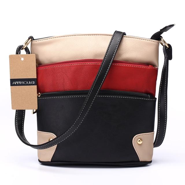 Women Patchwork PU Shoulder Bag 4 Colors Crossbody Bag Tote Bag Three Zipper Messenger Bag High Quality 2