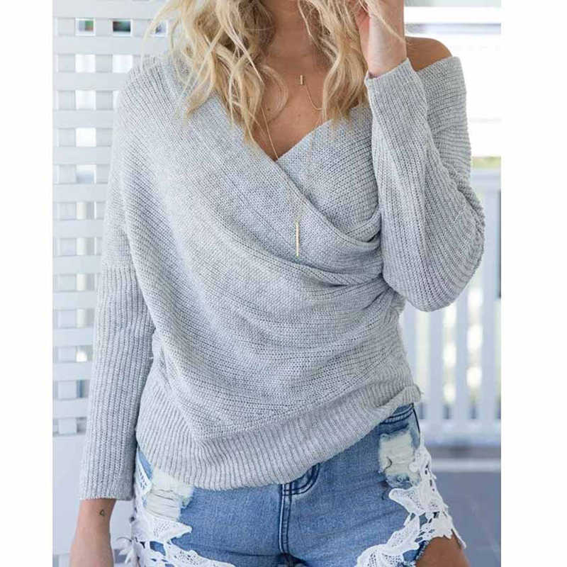 여성 풀오버 겨울 캐시미어 스웨터 backless streetwear 섹시한 v 넥 크로스 니트 스웨터