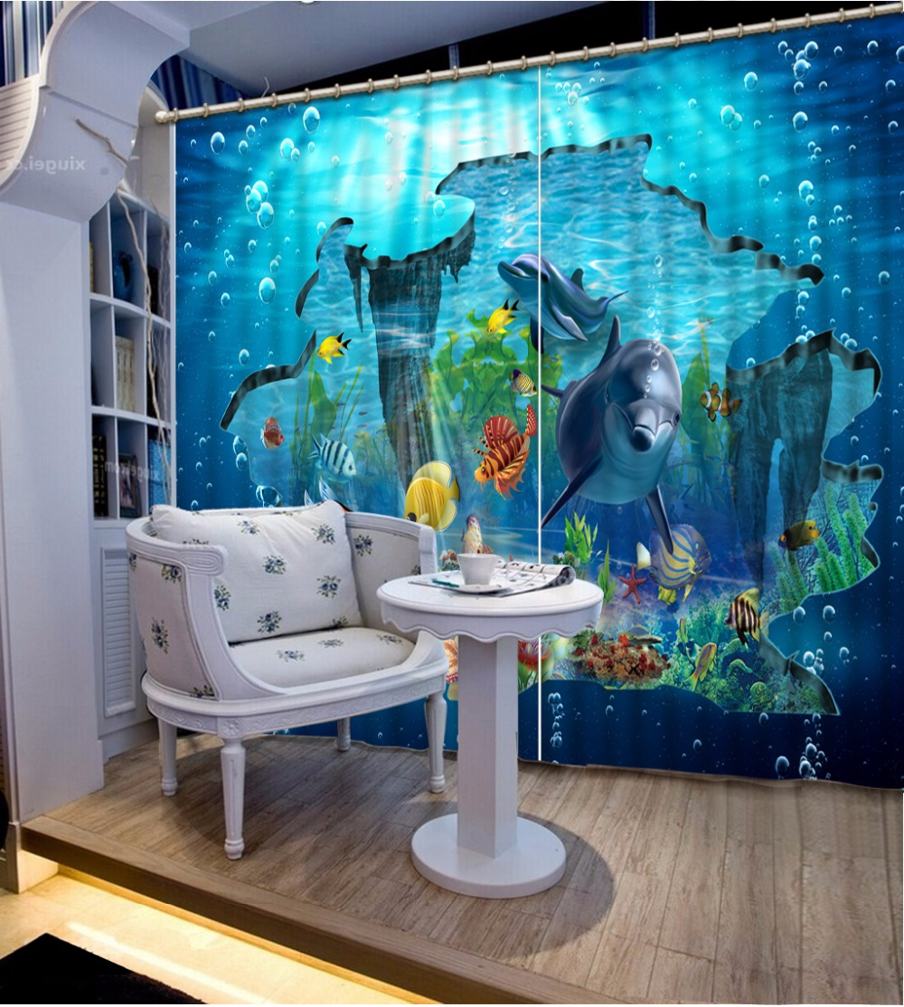 3D Curtain Fashion Customized Underwater bubble dolphin Curtains For Bedroom New Custom 3D Beautiful Blackout Shade Window