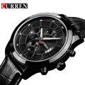 Мода Curren Марка Бизнес Черный Человек Наручные часы Дата Натуральная Кожа водонепроницаемый Повседневная наручные часы Мужские Relojes hombre