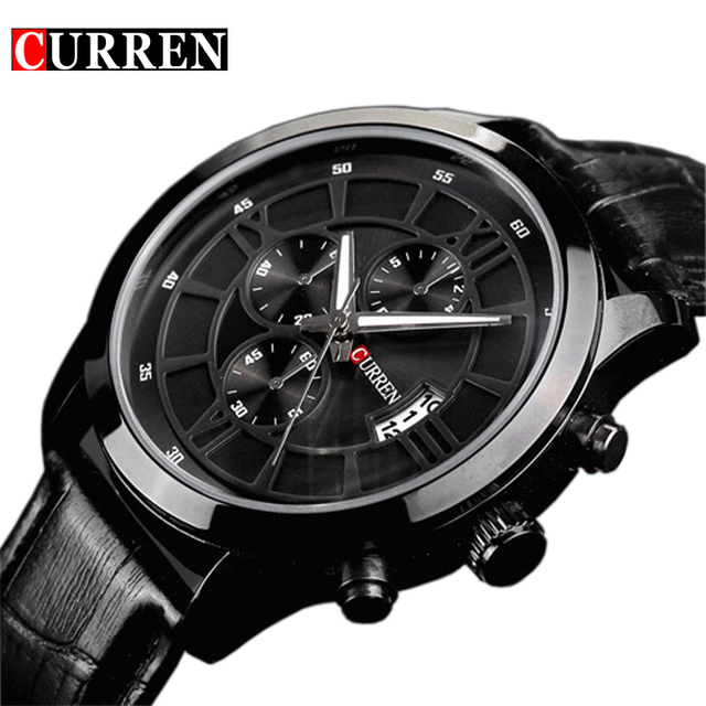 8914a4722584 Fashion Curren Brand Business Black Man Wrist watch Date Genuine Leather  waterproof Casual wristwatch Male Relojes hombre