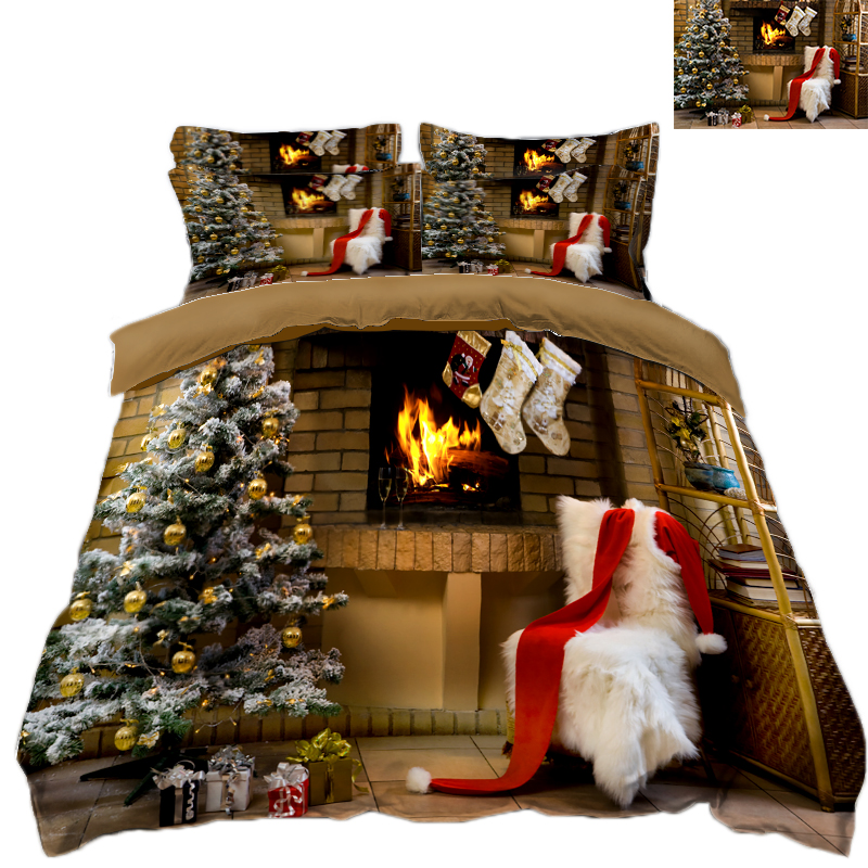Christmas Tree Room Decoration Bedding Set Queen Size Twin