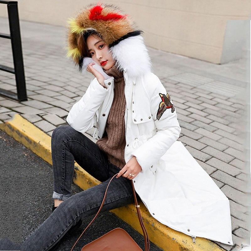 Long vent De Coupe Brodé Duvet 645 Col Fourrure yellow Vêtements Réel Vestes Parka Manteau White Capuche Chauds Couleur À Femmes black Haut 2019 D'hiver rn8zwrqxE
