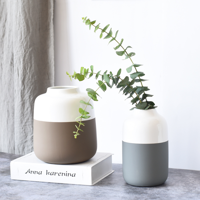 1pc Multicolor Ceramic Vase White And Grey Porcelain Flower Vase Home Decor Water Planting Container
