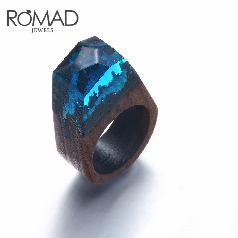 Transparent Volcanic Wood Ring Personality Fashion Design Ornament Street Retro Ring for Women Men Girl Party Size 8 9