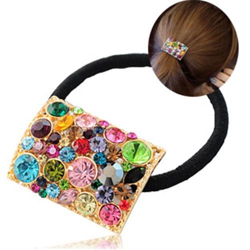 Artesanía tejida Rhinestone anillo de La Venda de goma Del Pelo del pelo para Las Mujeres