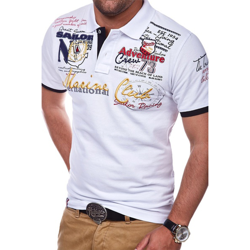 ZOGAA Casual Short Sleeve Polo Shirts Turn-down Collar Letter Polyester Multi-Color All Size Fashion Personality Man Shirt