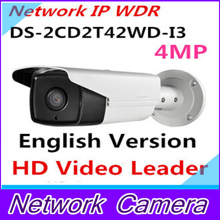 Free shipping DS-2CD2T42WD-I3 English version 4MP EXIR Network Bullet IP security Camera POE, 120dB WDR, 30m IR H.264+
