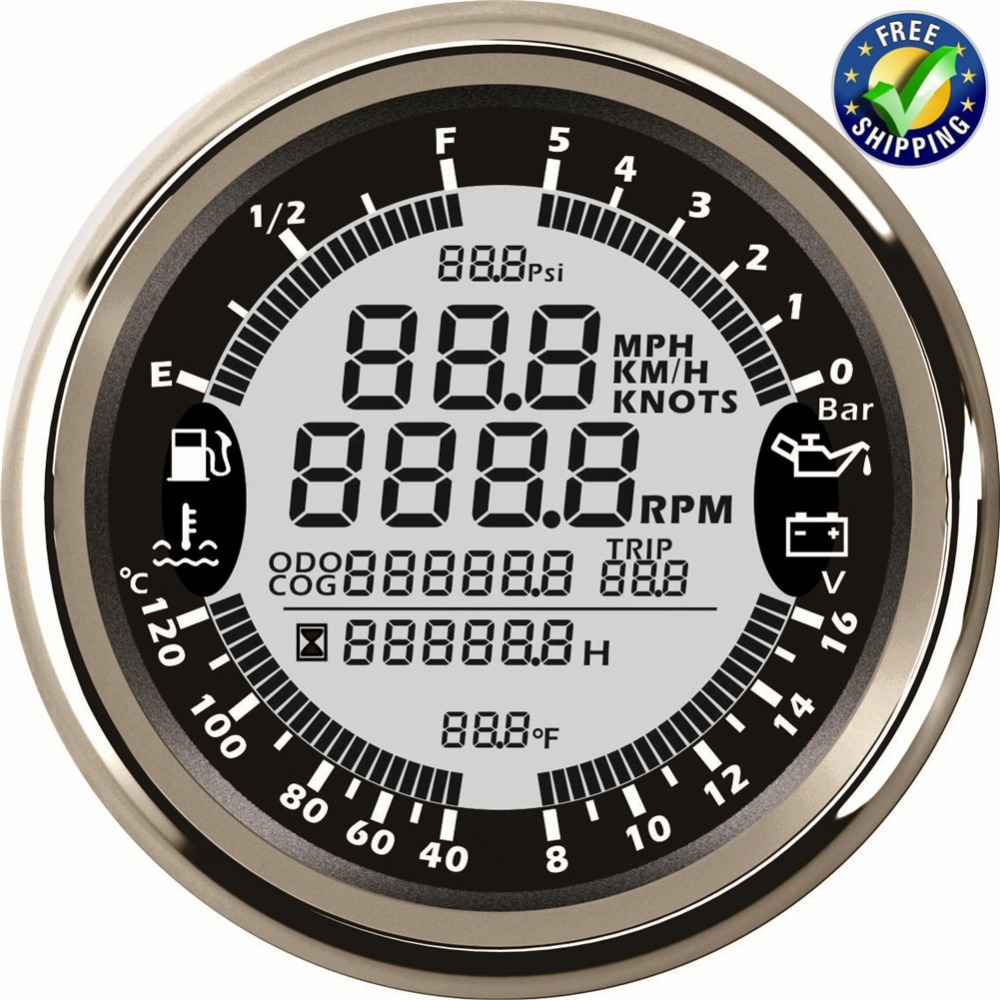 1pc Auto Multi Function Gauge 85mm Tachometers Speed Odometers 40-120 Degree Water Temp Gauges 8-16v Voltmeters with GPS Antenna