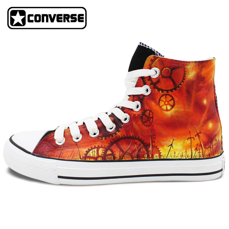 Women Men Converse Anime Shoes Man Woman Saber Fate stay Night Black Design Hand Painted Shoes
