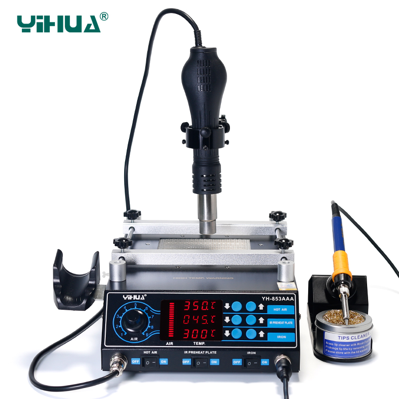 Image 4 - YIHUA 853AAA 1350W Preheating Station PCB Preheater Soldering Station BGA Rework Station Soldering Iron Heat Gun Welding Station-in Soldering Stations from Tools