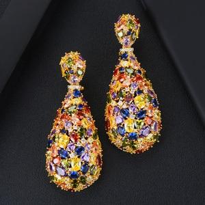 Image 5 - GODKI pendientes de circonia cúbica con forma de gota de agua, joyería de moda, 75mm