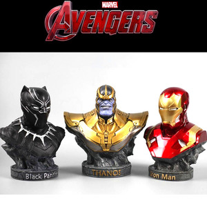 Image 2 - The Avenger 3 iron man black panther thanos statues for decoration 18cm resin statuette collectible action figures gifts