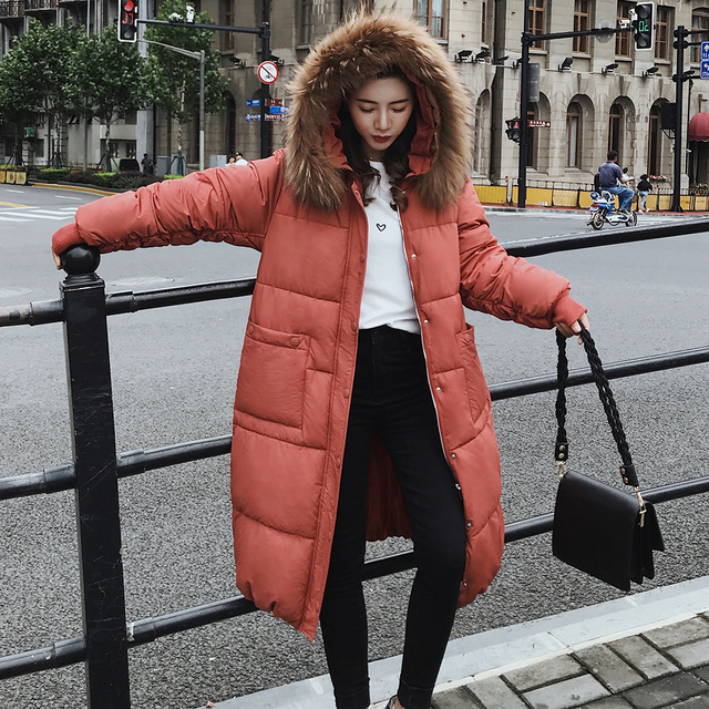 New Winter Casual Coat Ladies high quality Down Cotton Women Thickening Warm Parkas Hooded With Fur Collat