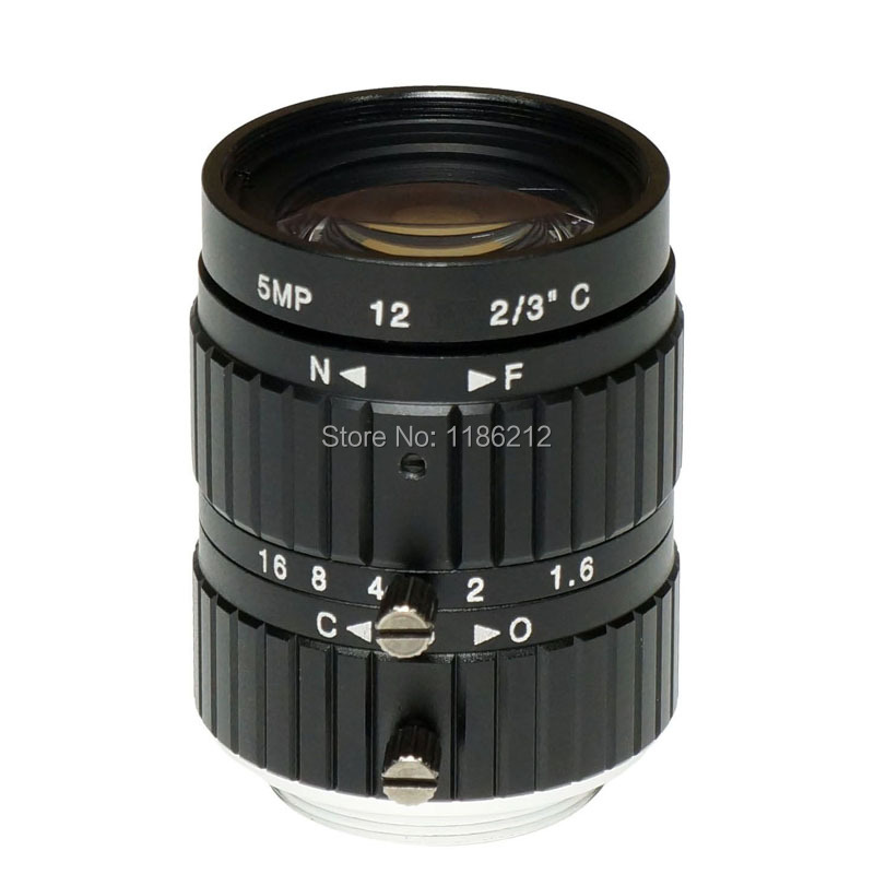 1/1.8-inch and 2/3-inch sensor F1.6 Manual Iris 12 mm for surveillance and machine vision C Mount 5 MP HD Lens