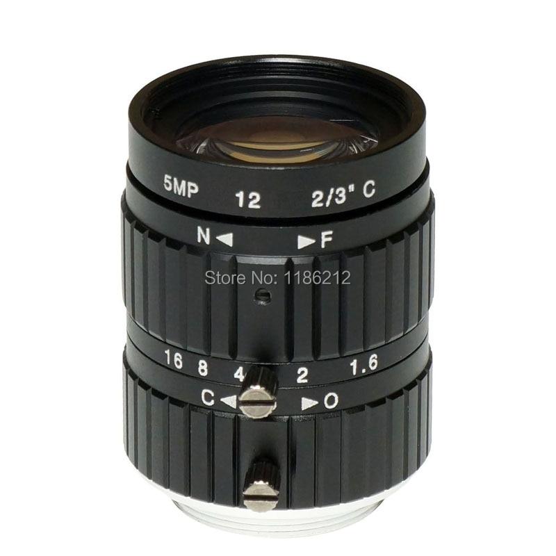 1/1. 8 pouces et 2/3 pouces capteur F1.6 Iris manuel 12mm pour la surveillance et la vision industrielle C monture 5 MP HD lentille1/1. 8 pouces et 2/3 pouces capteur F1.6 Iris manuel 12mm pour la surveillance et la vision industrielle C monture 5 MP HD lentille