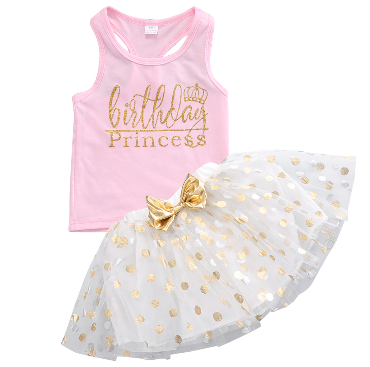 Baby Kids Girls Clothes Summer Sleeveless Vest Top T-shirt +Polka Dot Princess Party tutu Skirt Clothes Set1-6Y puseky vestido princesa 2 pcs set cute kids baby girls clothes minions minnie party dress vest skirt toddler clothes 1 6y