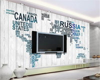Beibehang Individuality Silk Wall Paper Wood Alphabet Letters World Map Modern Minimalistic Background Papel De Parede
