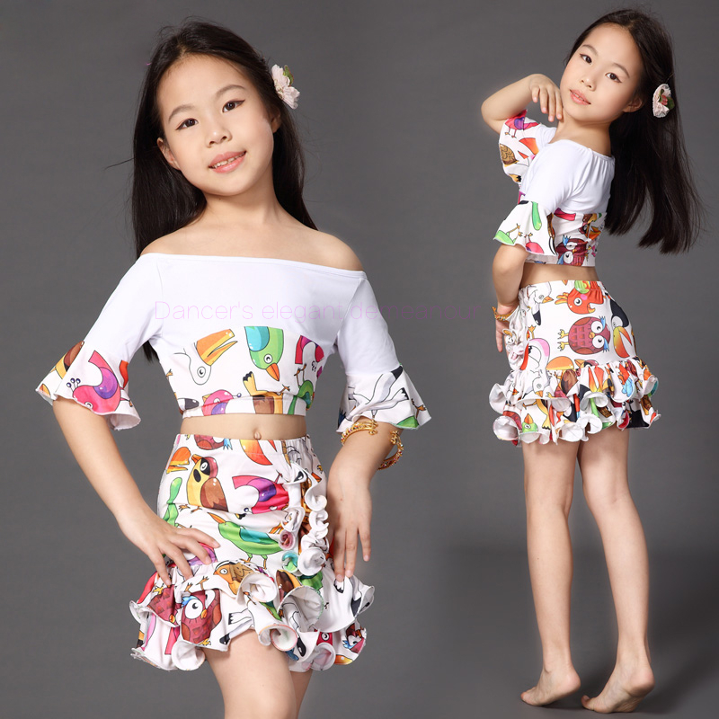 232521753e3a NEW ! gilrs  milk silk belly dance set girls  half sleeves top+skirt ...