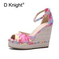 New Women Ethnic Wedges Sandals Fashion Print Canvas Open Toe High Heels Women Wedge Sandal Ladies