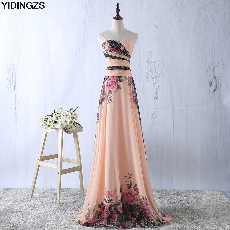 YIDINGZS Flower Pattern Chiffon   Bridesmaid     Dress   Floral Print Wedding Party   Dresses   2018