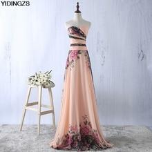 YIDINGZS Flower Pattern Chiffon Bridesmaid Dress Floral Prin