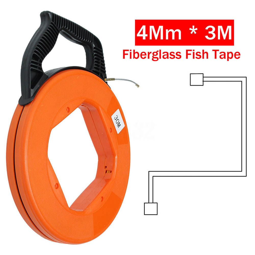 30Meter Fiberglass Tape Reel Puller Conduit Ducting Rodder Pulling Wire Cable Tool CLH@8 durable fiberglass fish tape reel puller conduit duct rodder pulling wire cable 30m 4mm for heavy duty wire pulls mayitr