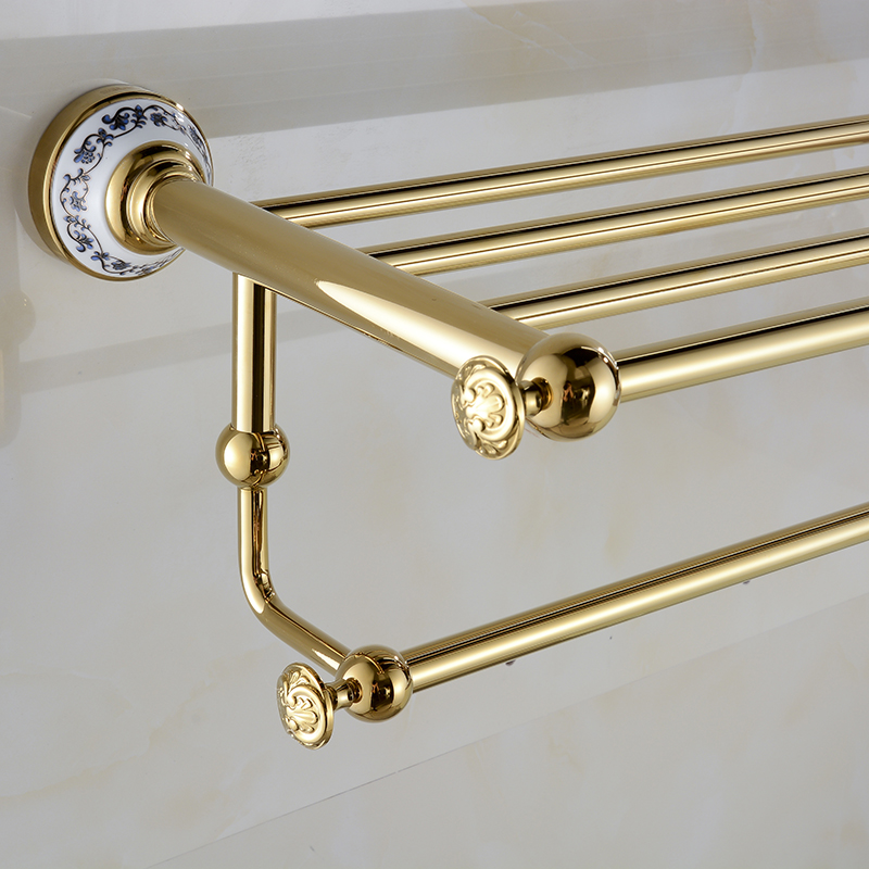 Towel Racks Wall Mounted Brass Bath Towel Rack Golden Polished Bathroom Shelf Towel Rod Towel Hooks Bathroom Accessories XE3390 whole brass blackend antique ceramic bath towel rack bathroom towel shelf bathroom towel holder antique black double towel shelf