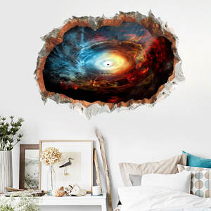 Wall-Sticker Ornament Planet Science-Fiction Interstellar Hole-Space Boy Room Black Broken