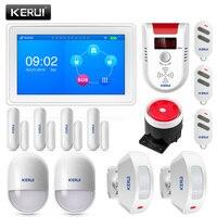 KERUI K7 сенсорный экран удивительный дизайн 7 дюймов TFT цветной дисплей wifi + GSM плоское зажимное устройство стола сигнализация комплект