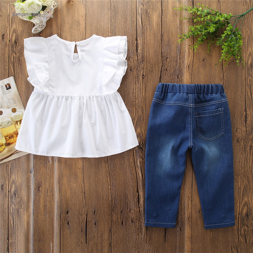 2019 Summer New Toddler Kids Baby Girls White Ruffles Top T-shirt Denim Long Bead Pants Outfits Children Girl Clothes 2-6 Years
