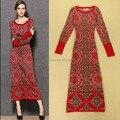 El envío libre 2016 nueva moda de otoño y primavera impresión de la vendimia de manga larga de lana de punto de una sola pieza suéter largo mitad de la pantorrilla dress