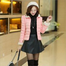 2017 Winter new Korean Women short paragraph simple slim Down padded cotton jacket lamb fur collar solid color fashion