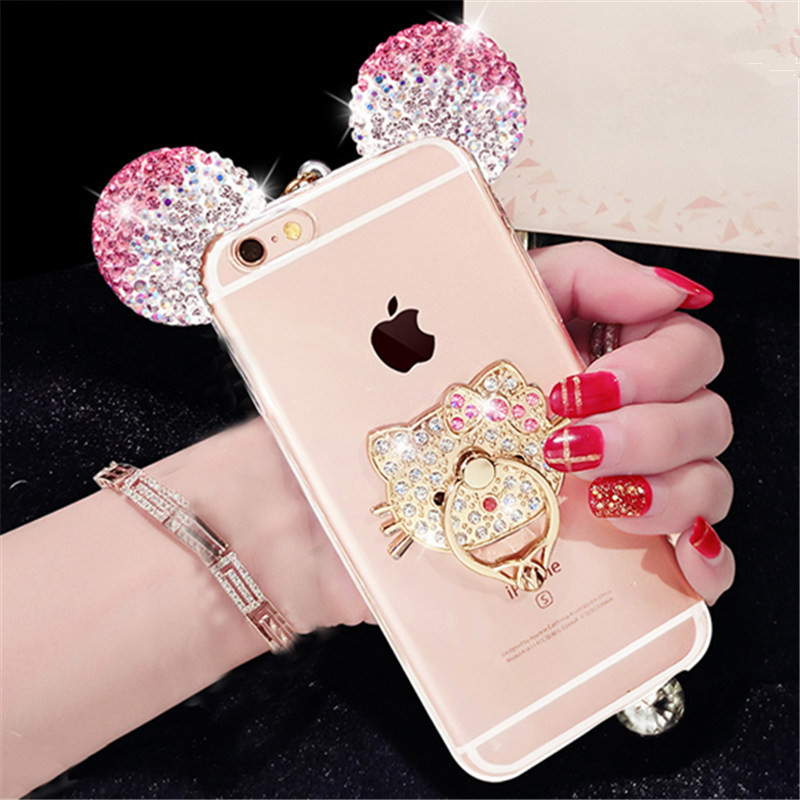 For iPhone 5 5S SE 6 6S 7 Plus Cute Mouse ear Bling Diamond phone case with love cat finger ring handmade with lanyard