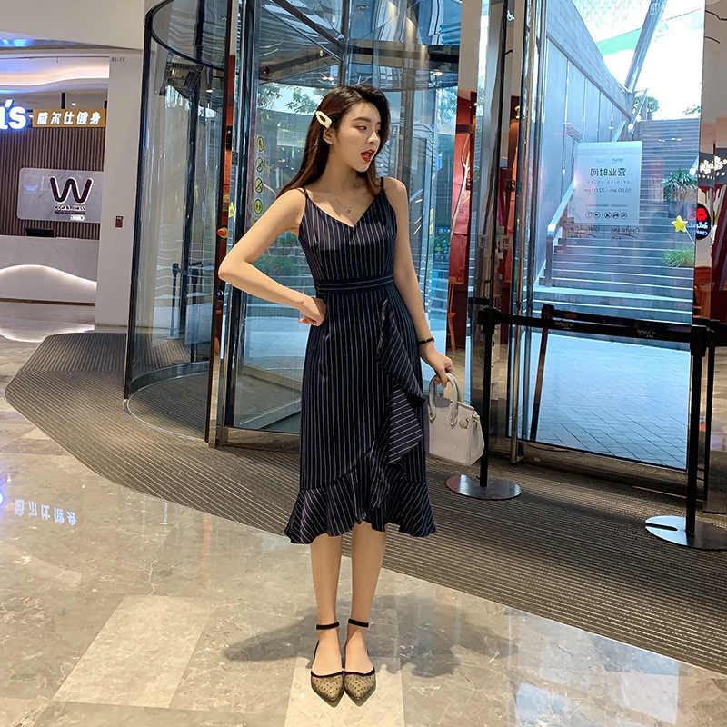 Летнее облегающее платье для женщин одежда 2019 корейские шикарные сексуальные платья женские Вечерние черные с v-образным вырезом платье элегантные VestidosYY013