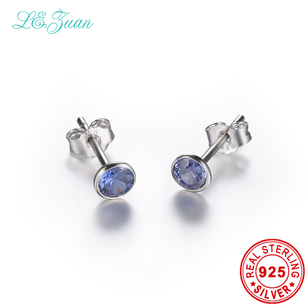 L&zuan Sterling Silver Jewelry Earrings Natural Tanzanite Elegant Stud  Earrings For Woman Bijoux Femme(china