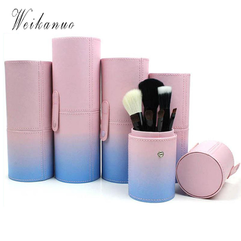 Makeup Brush Bags Barrel Shaped PU Leather Cosmetics Pouchs For Travel Ladies Pouch Women Cosmetic Bucket Gradient Colour