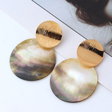 Cuteeco 2019 Vintage Gold Sequins Shell Dangle Earring Statement Metal Drop Earrings For Women Party Jewelry Brincos