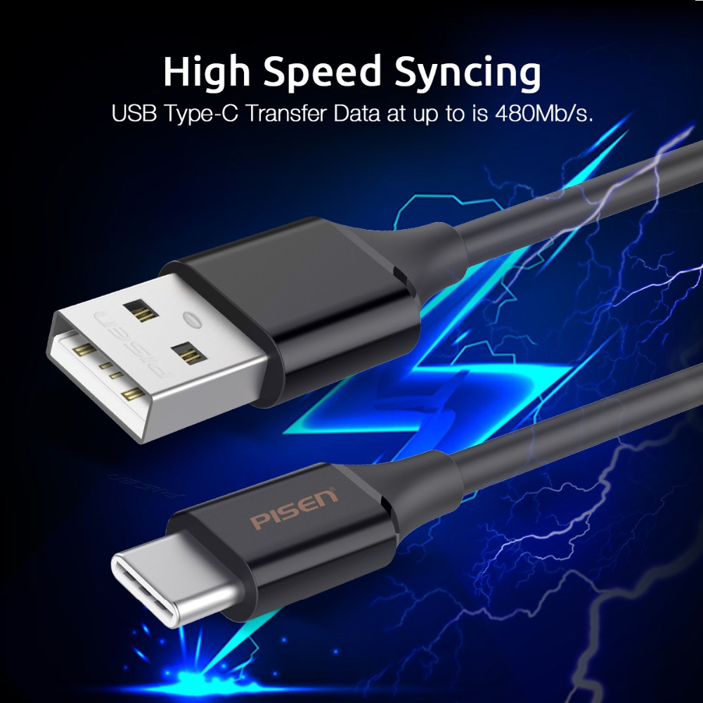 Pisen 1m 3a Fast Charging Type C Phone Cable Durable Braided Shield Kabel Usb 2 In 1 Charge Ampamp Data For Iphone And Android 100cm A To Cord Can Sync With Most Of The Devices