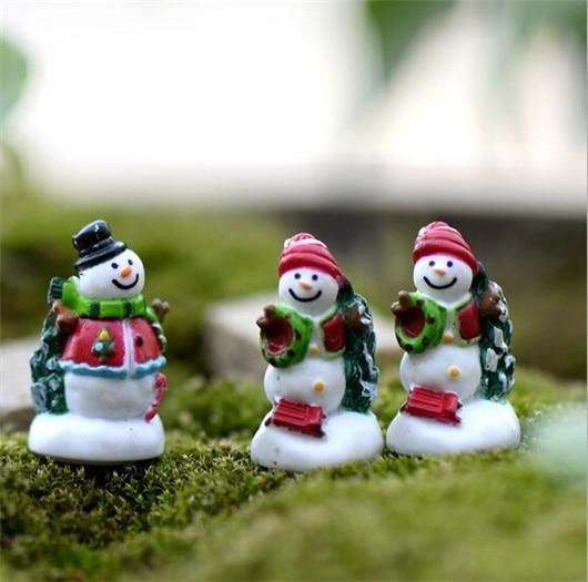 Xmas resin mini snowman figurine craft garden decoration