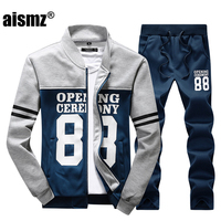 Aismz Tracksuit Men Autumn Winter Sportwear Male Zipper Sweatshirt Jacket+Sweatpants Two Piece Set Sweat Suit For Men Clothes