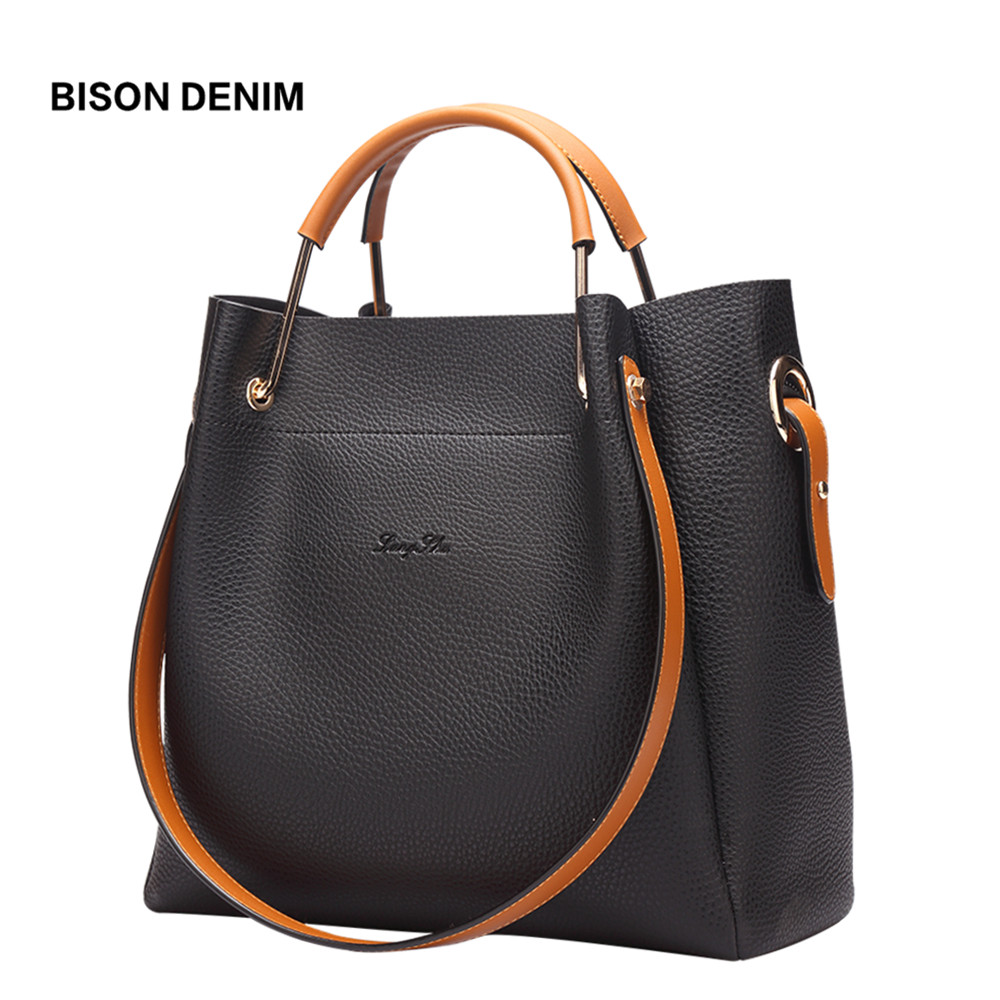 BISON DENIM Women Leather Handbag Casual Luxury Designer Ladies Shoulder Tote Crossbody Messenger Bags L1292 women bag handbag tote over shoulder crossbody messenger leather female red bucket lock big casual ladies luxury designer bags