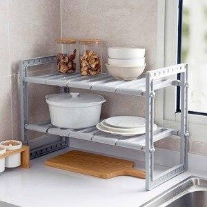 Image 4 - OTHERHOUSE Mutfak Lavabo Altında Depolama Raf Raf Çift Katmanlı Ocak Tutucu Dolabı Organizatör paslanmaz çelik mutfak lavabosu Raf