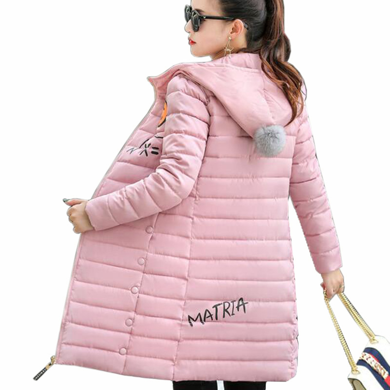 New Winter Light Down cotton Coat Women Long Design Hooded Jackets Casual Slim Warm Jacket Coats Parkas Female Outwear QH0454 muxu new autumn winter coat women basic jacket coat female slim hooded cotton coats casual silver long sleeve ladies jackets